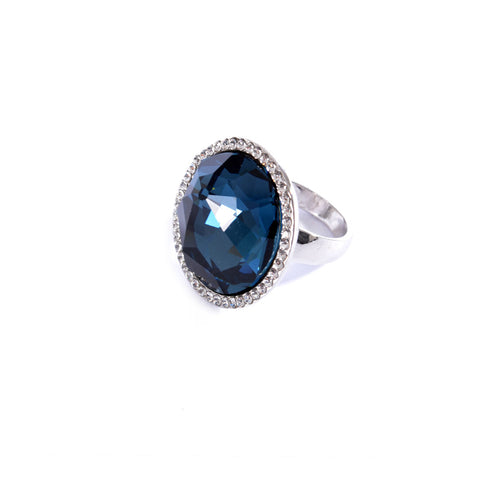 Silver colored ring encrusted with navy stone and small Zircon stones -1287