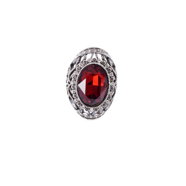 Silver colored ring encrusted with red stone and small Zircon stones -1292