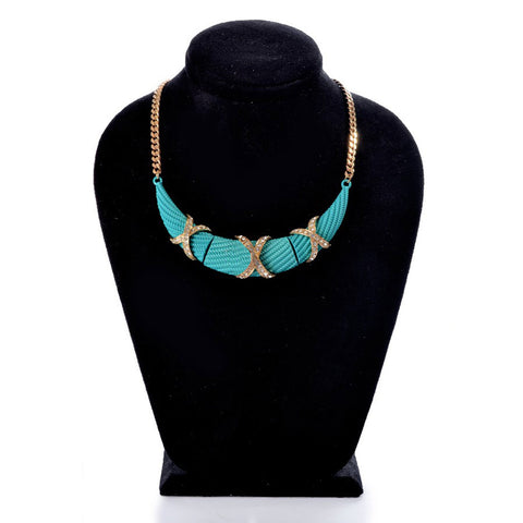 Necklaces Color  Gold & turquoise -101