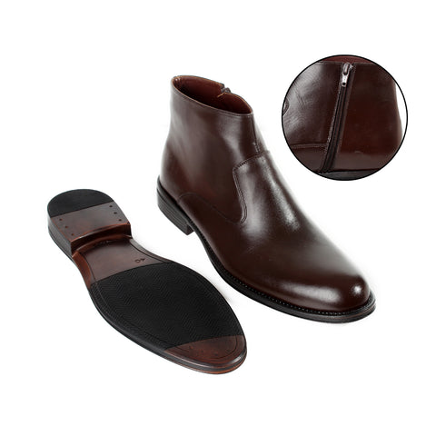 Formal winter shoes /  100% genuine leather -brown -6200