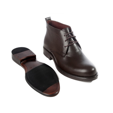 Formal winter shoes /  100% genuine leather -brown -6201
