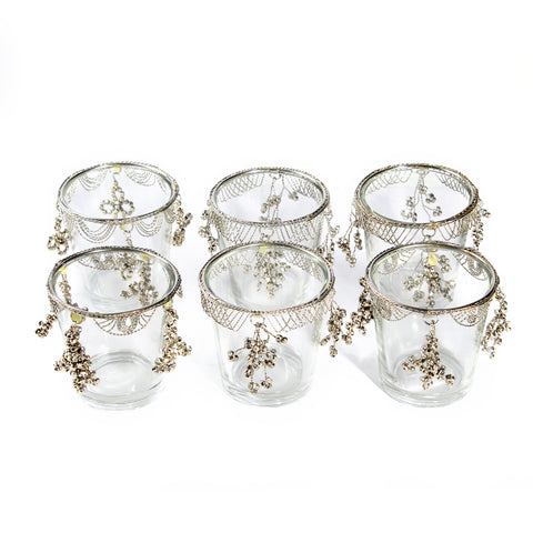 set of glass candle cups holder -6232