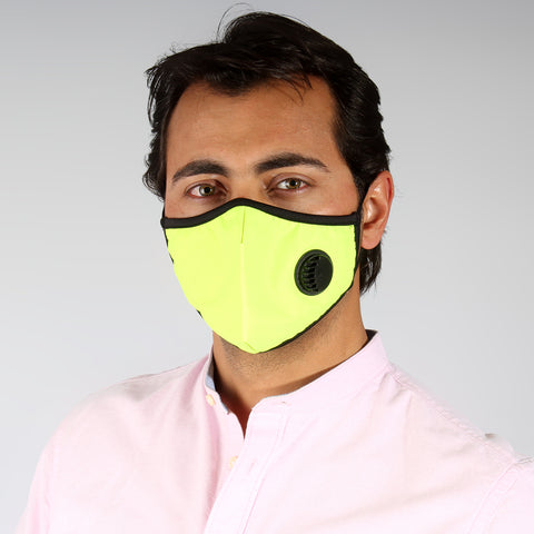(K 95) Face Mask with inbuilt valve for easy breathing/ yellow -6289