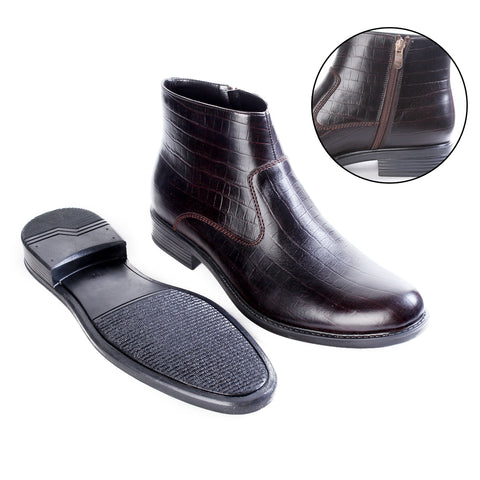 Formal winter shoes /  100% genuine leather -brown -6496