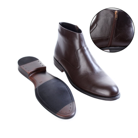 Formal winter shoes /  100% genuine leather -brown -6497
