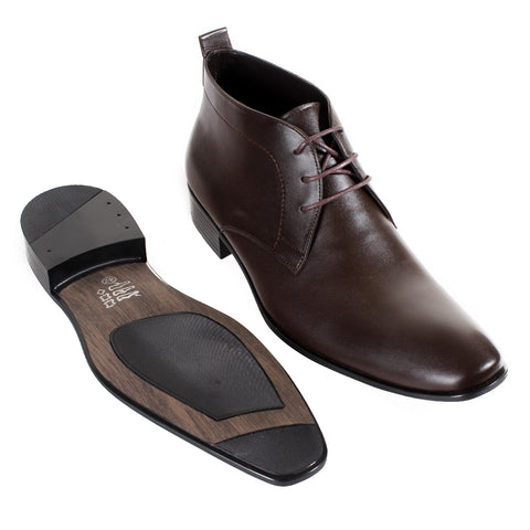 Formal winter shoes /  100% genuine leather -brown -6585