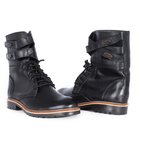 100 % genuine  leather/ men ankle boots/ handmade/ black -6863