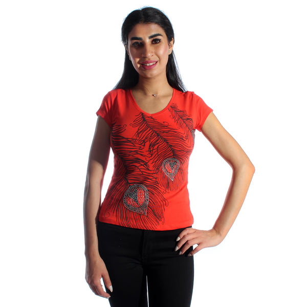 women t-shirt/ Red/ cotoon + lycra/ made in Turkey -3396