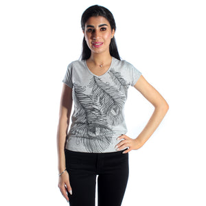 women t-shirt/ gray/ cotoon + lycra/ made in Turkey -3399