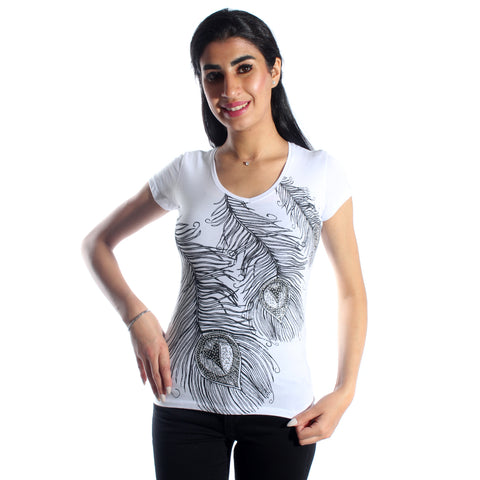women t-shirt/ white/ cotoon + lycra/ made in Turkey -3398