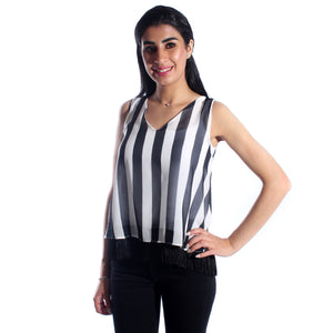 women top lined chiffon/ black and white/ polyester/ made in Turkey -3443