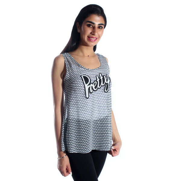 women t-shirt/ black and white/ polyester/ made in Turkey -3448