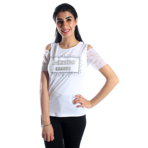 women t-shirt/ white/ polyester / made in Turkey -3442