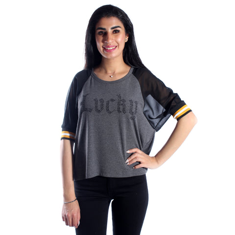 women top/ cotoon/ gray/ made in Turkey -3441