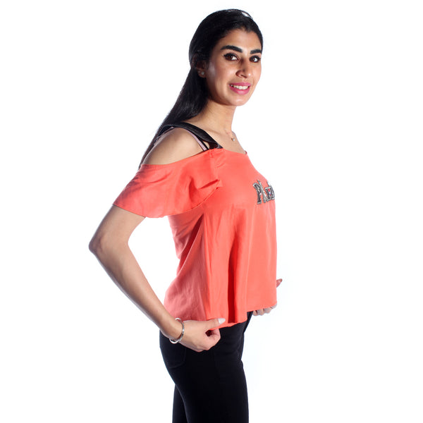 women t-shirt/ orange/ polyester / made in Turkey -3446