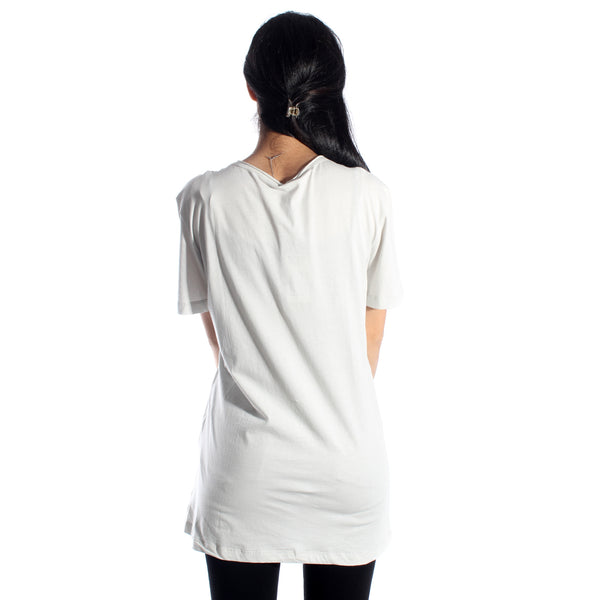 women long t-shirt/ gray/ cotoon 100 % / made in Turkey -3427