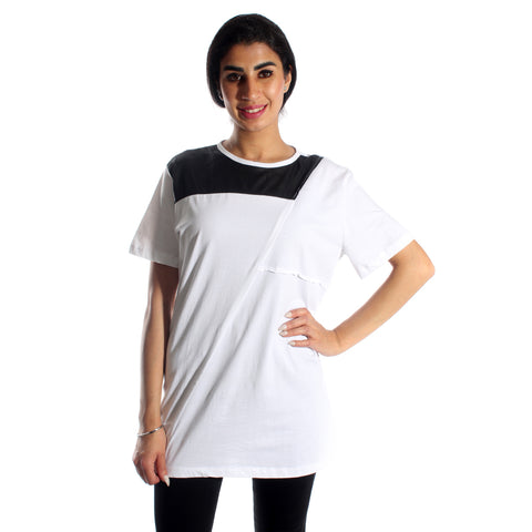 women long t-shirt/ white/ cotoon 100 % / made in Turkey -3426