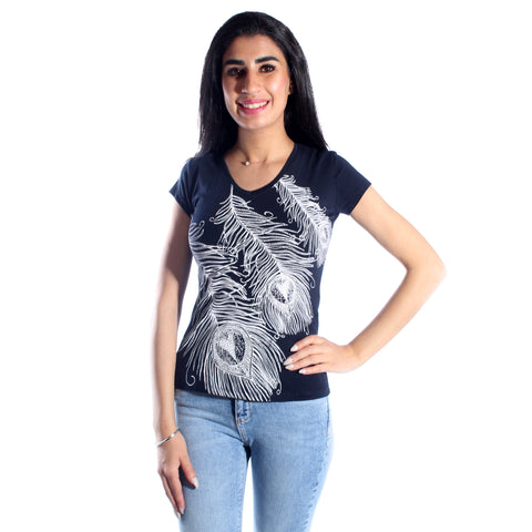 women t-shirt/ navy/ cotoon + lycra/ made in Turkey -3400