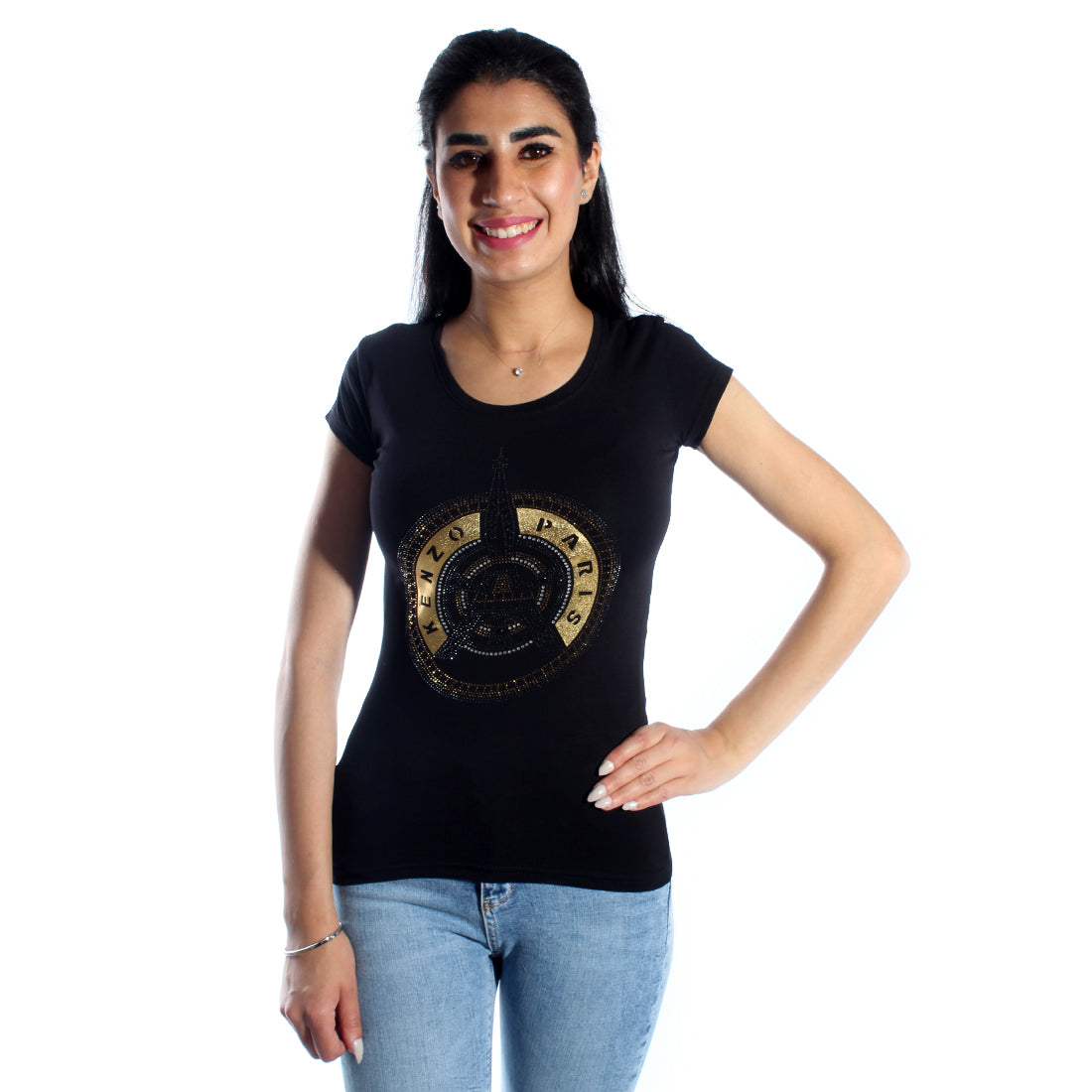 women t-shirt/ black/ cotoon + lycra/ made in Turkey -3412