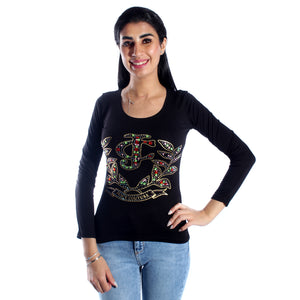 women t-shirt/ black/ cotoon / made in Turkey -3407