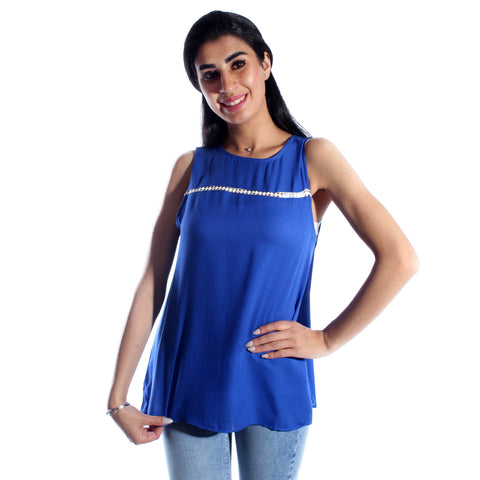 women long lined chiffon t-shirt/indigo/ cotton made in Turkey -3433