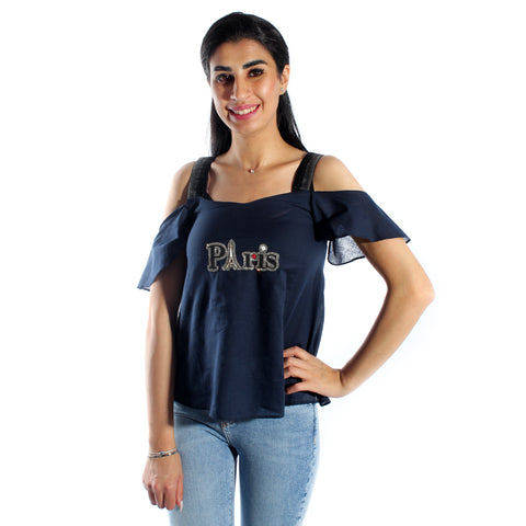 women t-shirt/ navy/ polyester / made in Turkey -3445