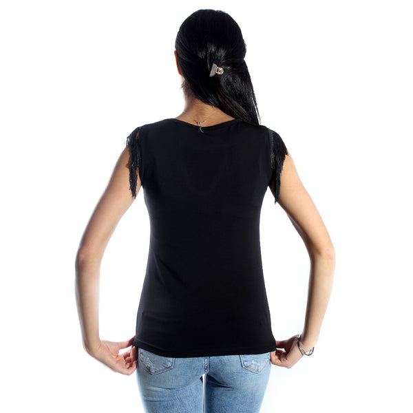 women t-shirt/black/ cotoon made in Turkey -3447