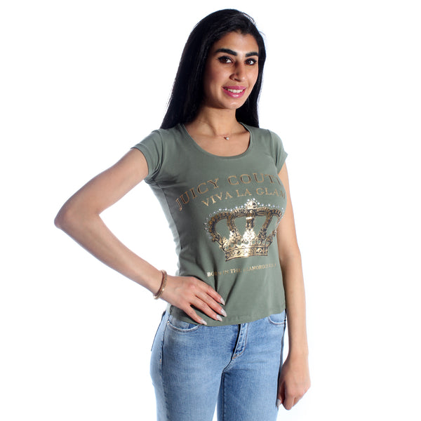 women t-shirt/ green olive/ cotoon + lycra/ made in Turkey -3402