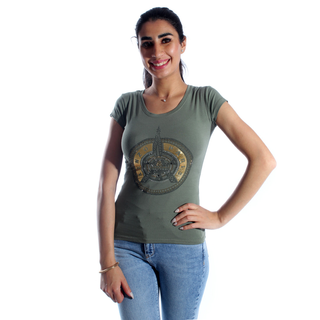 women t-shirt/ green olive/ cotoon + lycra/ made in Turkey -3410
