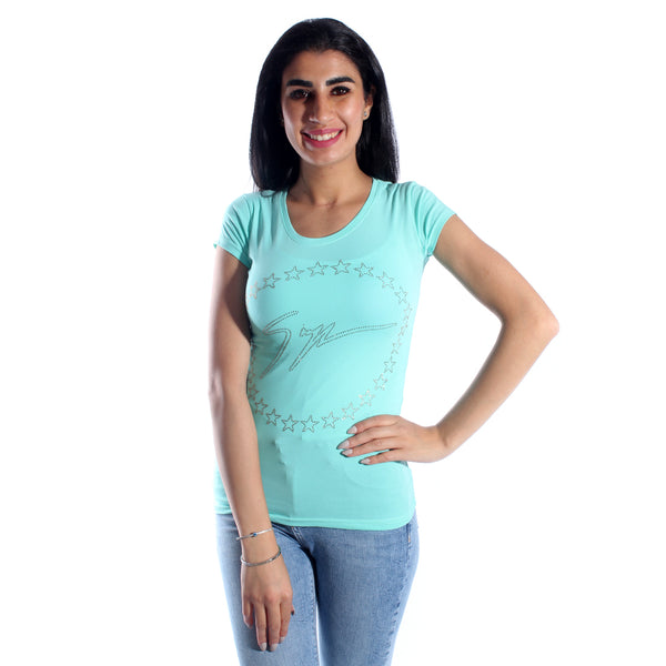 women t-shirt/ turkuaz/ cotoon + lycra/ made in Turkey -3420
