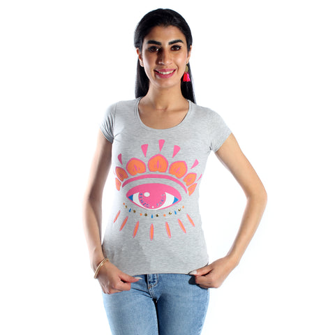 women t-shirt/ gray/ cotoon + lycra/ made in Turkey -3413