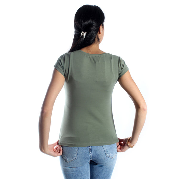 women t-shirt/ green olive/ cotoon + lycra/ made in Turkey -3414