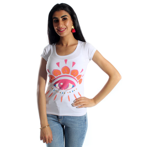 women t-shirt/ white/ cotoon + lycra/ made in Turkey -3415
