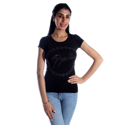 women t-shirt/ black/ cotoon + lycra/ made in Turkey -3421