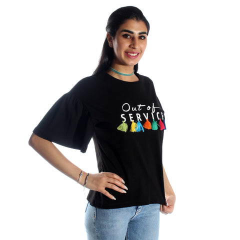 women long t-shirt/ black/ cotton / made in Turkey -3424