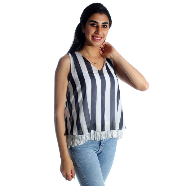 women top lined chiffon/ black and white/ polyester/ made in Turkey -3444