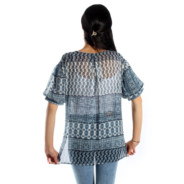 women top chiffon/ navy/cotton/ made in Turkey -3438