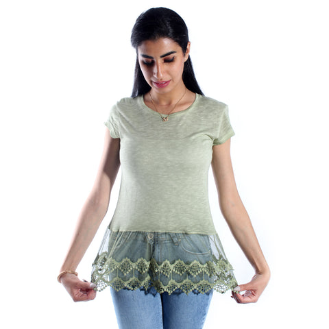 women t-shirt/ light green/ cotoon / made in Turkey -3430