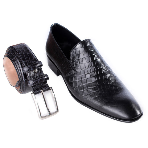 Formal shoes + elegant belt 100% genuine leather, handmade - black color -7203
