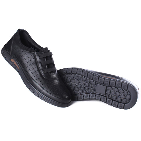 Casual Men  shoes / 100 % genuine leather/ black -6986