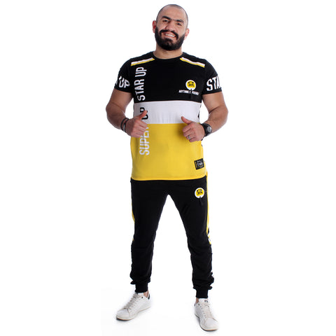 Men Training Suit Black / white and yellow-7023