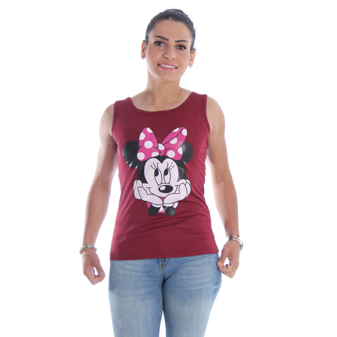 Women burgundy Printed Round Neck T-shirt -7067