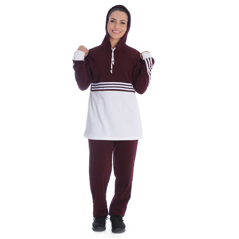 Women's 2 Pcs Sports Set Hooded Long Sleeve -7095