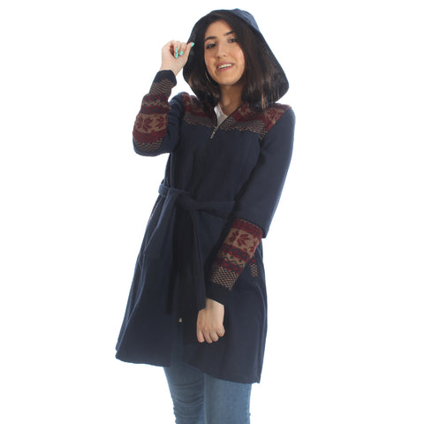 Long coat with removable hoodie/ navy -5901