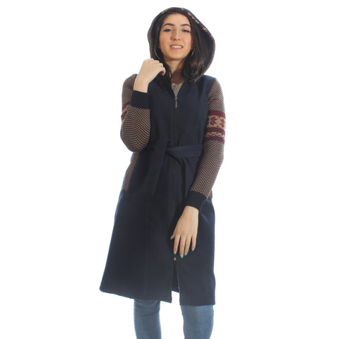 Long coat with removable hoodie/ navy -5902