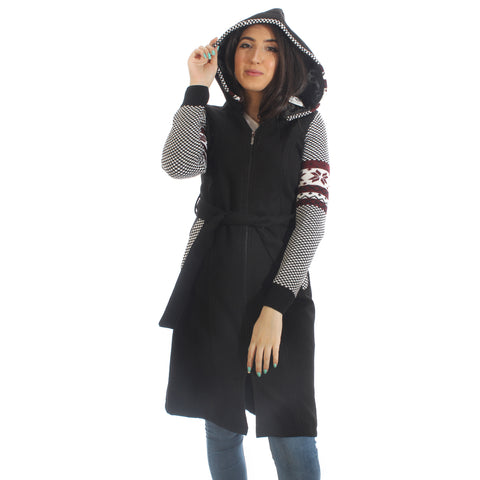 Long coat with removable hoodie/ black -5903