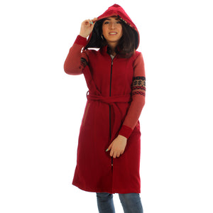 Long coat with removable hoodie/ red -5904