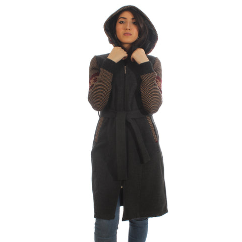 Long coat with removable hoodie/ gray -5905
