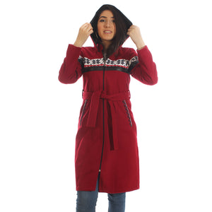 Long coat with removable hoodie/ red -5894