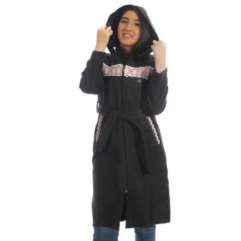 Long coat with removable hoodie/ gray -5895